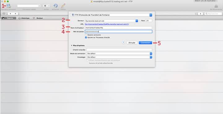 configurez votre logiciel ftp cyberduck wordpress