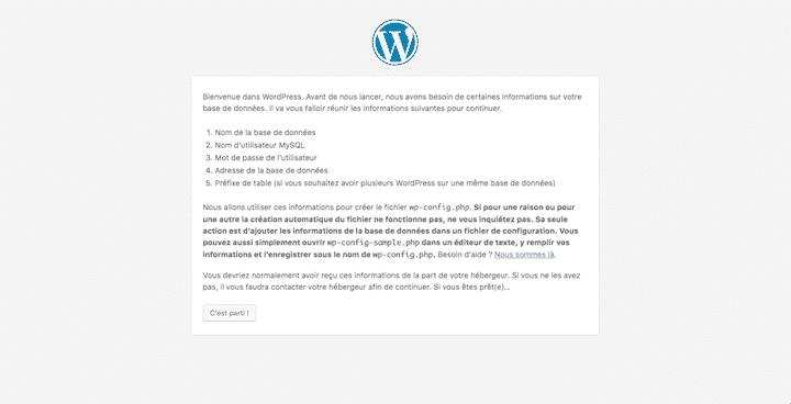 configuration wordpress base de données 1