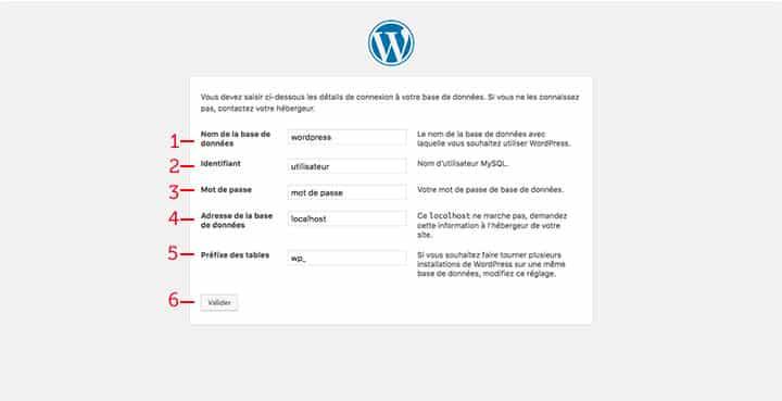 configuration wordpress base de données 2