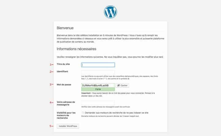configuration wordpress accès administration